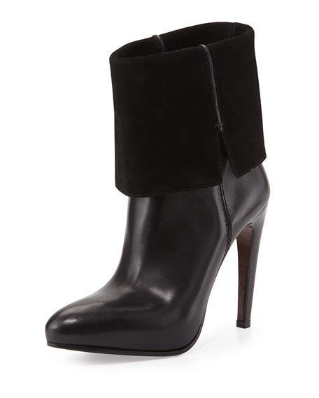 CoSTUME NATIONAL Leather & Suede Platform Ankle Boot, Black