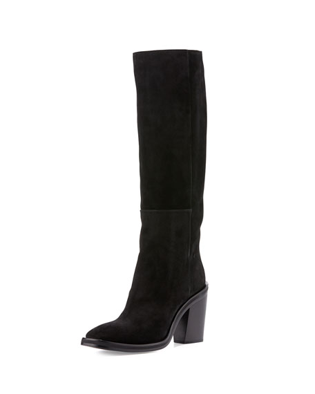 CoSTUME NATIONAL Suede Knee Boot, Black