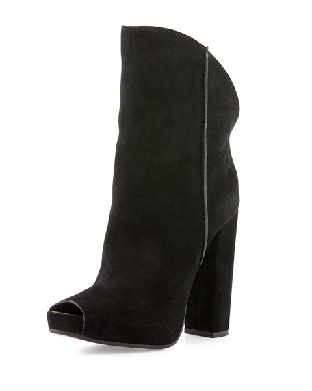 Peep-Toe Suede Ankle Boot, Black