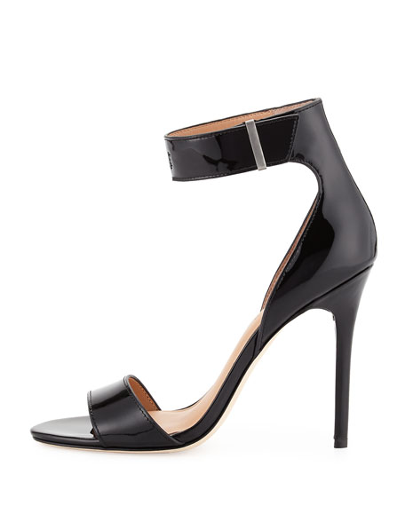 Marley Patent-Leather Sandal, Black Patent