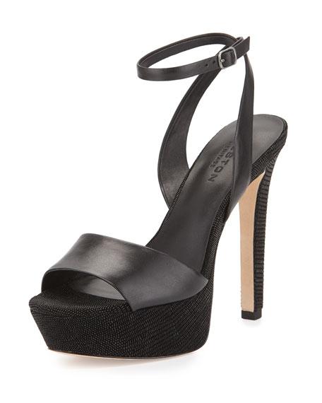 Halston Heritage Bobbie Leather Platform Sandal, Black