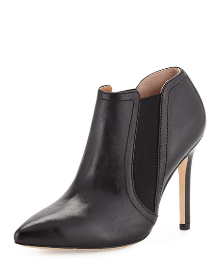 Halston Heritage Wendy Pointed-Toe Leather Bootie, Black