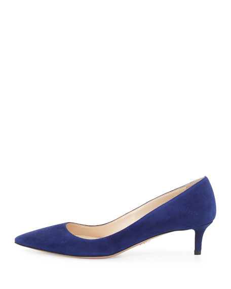 Suede 45mm Pointed-Toe Pumps, Navy