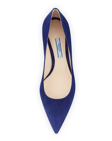 Suede 45mm Pointed-Toe Pump, Navy