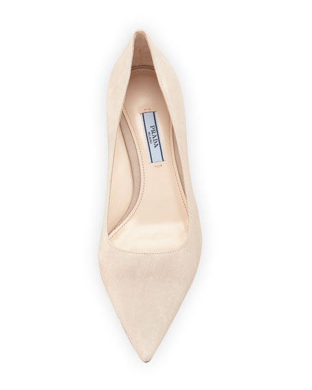 Suede Pointed-Toe 45mm Pump, Quarzo