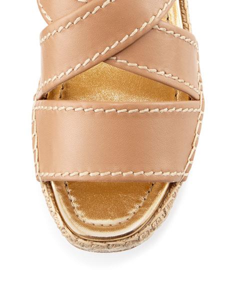 Crisscross Leather Espadrille Sandal, Natural