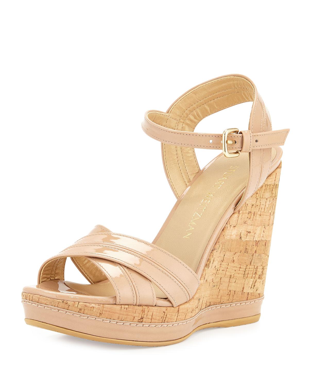 17eac5c06fd5 Stuart Weitzman Minky Patent Wedge Sandals