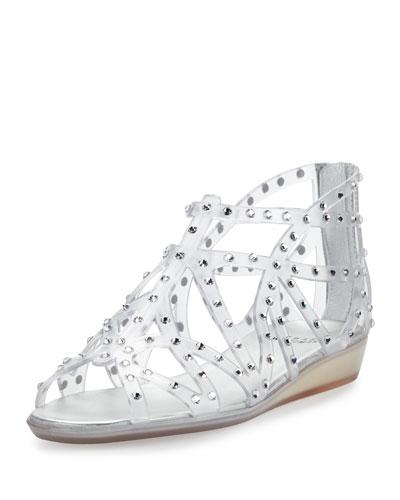 Glogladius Caged Crystal Jelly Sandal, Clear