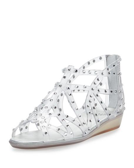 Stuart Weitzman Glogladius Caged Crystal Jelly Sandal, Clear