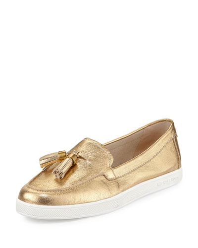 Callahan Leather Tassel Moccasin/Sneaker, Pale Gold