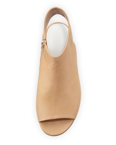 Open-Toe Leather Sandal, Cream