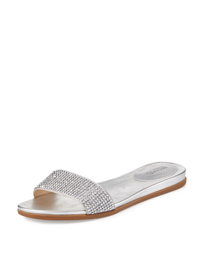 Eleanor Crystal Flat Slide Sandal, Silver