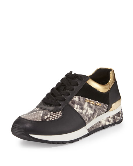 Allie Mixed-Media Trainer Sneaker, Natural/Black