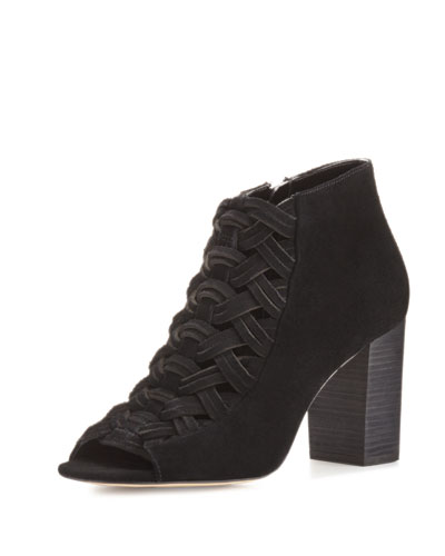 Westley Woven Suede Open-Toe Bootie, Black