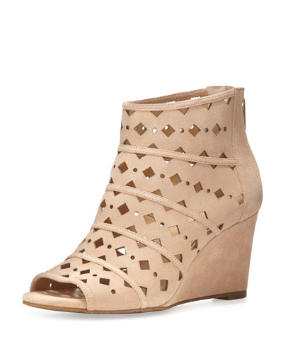 Uma Laser-Cut Suede Wedge Bootie, Bisque
