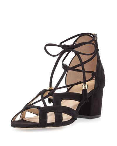 Mirabel Suede Lace-Up Sandal, Black