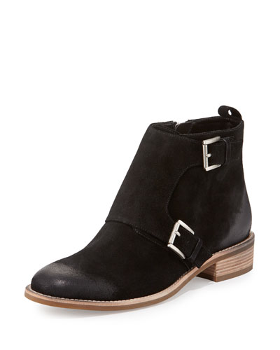 Adams Double-Monk Flat Suede Bootie, Black