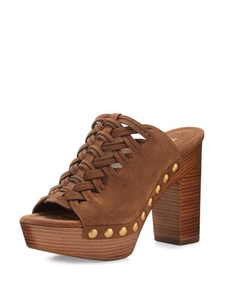 Westley Woven Suede Mule Sandal, Dark Caramel
