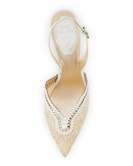Embellished Lace 105mm Halter Pump, White
