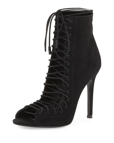 Ginny Suede Lace-Up Bootie, Black