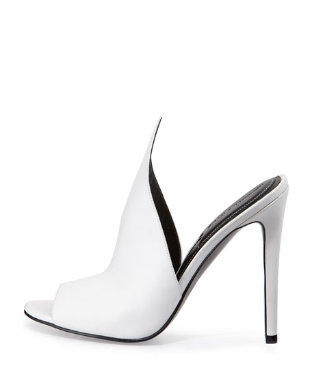 Essie Peaked Leather Mule Pump, White