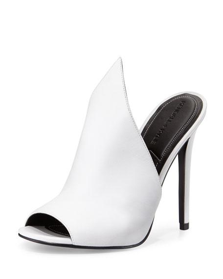 Essie Peaked Leather Mule Pump, White