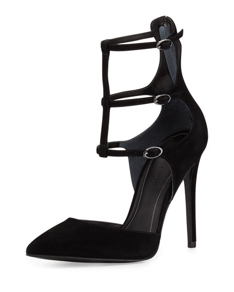 Kendall + Kylie Alisha Three-Strap Suede Pump, Black