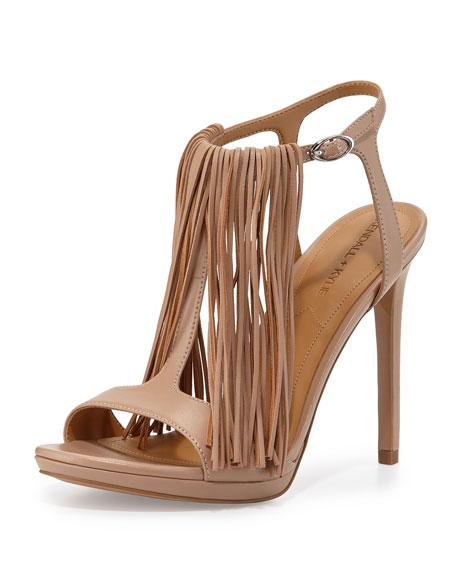 Aries Leather Fringe Sandal, Light Natural