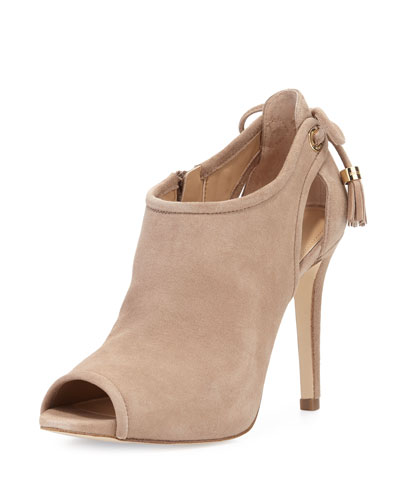 Jennings Suede Bow-Back Open-Toe Bootie, Dark Khaki