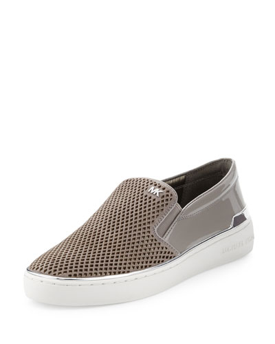 Kyle Perforated Suede Slip-On Sneaker, Pearl Gray