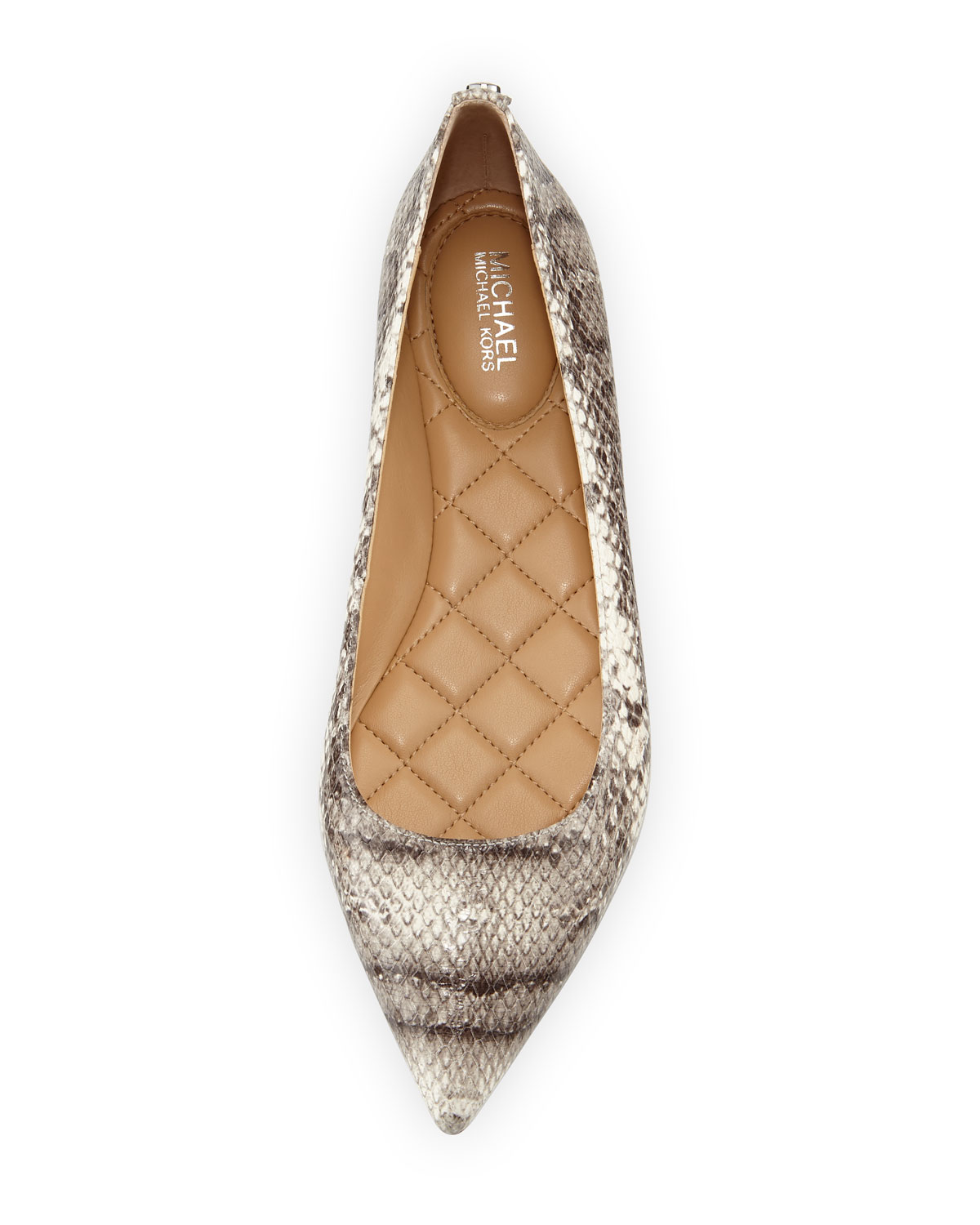 74186fa7d06 MICHAEL Michael Kors Arianna Snake-Embossed Pointed-Toe Flat ...