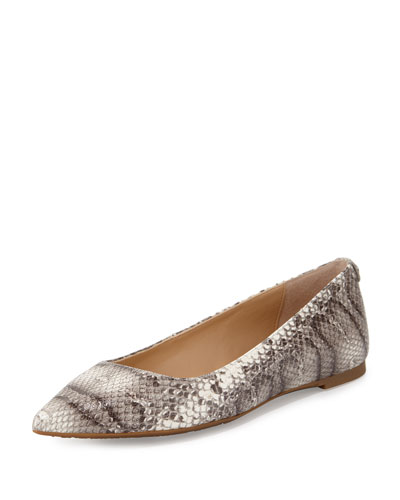 Arianna Snake-Embossed Pointed-Toe Flat, Natural