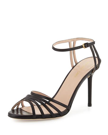 Sergio Rossi Caged Peep-Toe Leather Sandal, Black