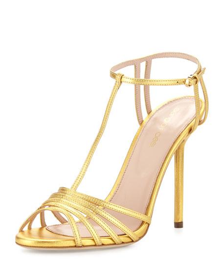 Sergio Rossi Metallic-Leather Peep-Toe Sandal, Gold