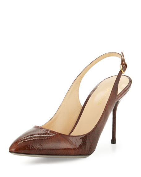 Sergio Rossi Patent-Leather Slingback Pump, Cigar