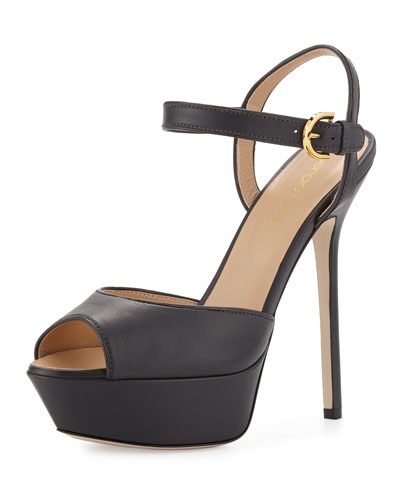 Peep-Toe Platform Leather Sandal, Dark Asphalt