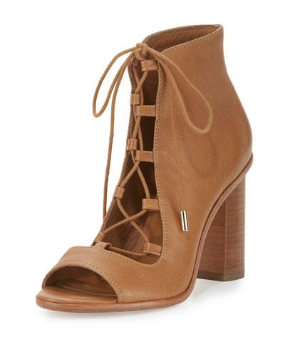 Cordelia Lace-Up Open-Toe Chunky-Heel Bootie, Whiskey