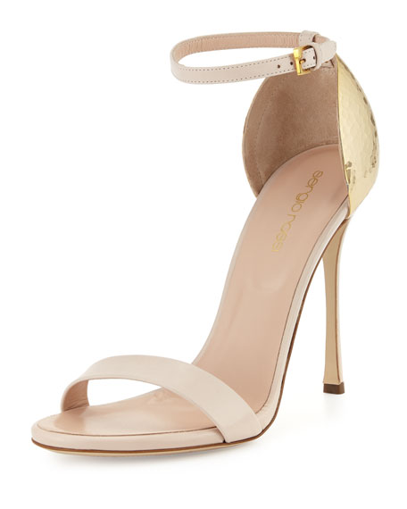 Hammered-Heel Strappy Sandal, Powder
