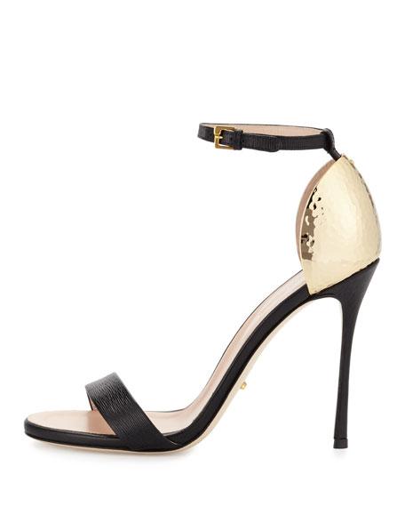Hammered-Heel Strappy Sandal, Black