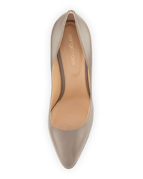 Pointed-Toe Leather Pump, Gray