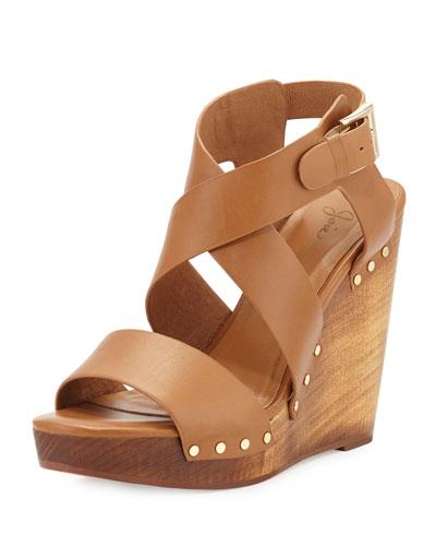 Cecilia Leather Wedge Sandal, Cuoio