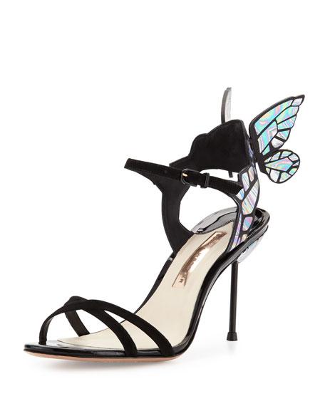Sophia Webster Chiara Butterfly Wing Ankle-Wrap Sandal, Black