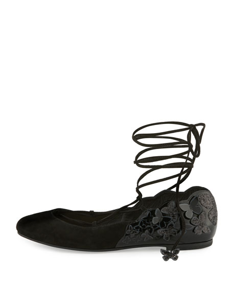 Harmony Suede Tie-Up 3D Butterfly Flat, Black