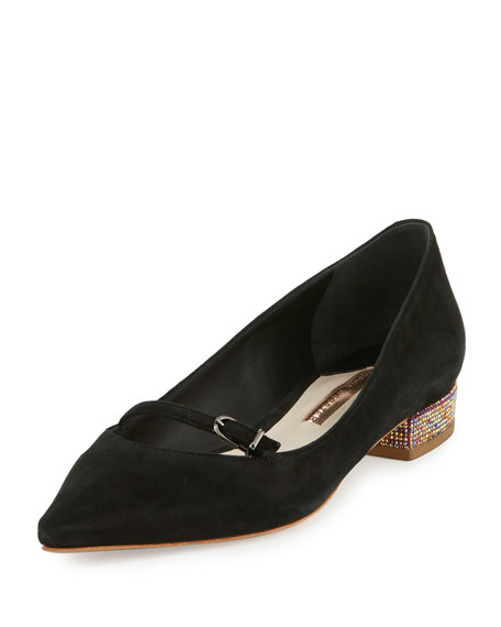 Sophia Webster Piper Suede Pointed-Toe Flat, Black/Pink