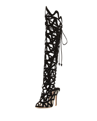 Mila Suede Cutout Over-The-Knee Boot, Black
