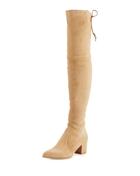 Stuart Weitzman Thighland Suede Over-The-Knee Boot, Skin