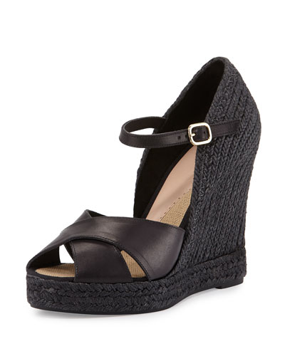 Giulia Leather Espadrille Wedge Sandal, Black