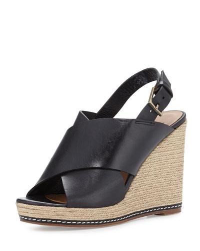 Cora Leather Espadrille Wedge Sandal, Black