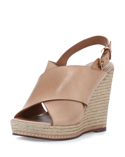 Cora Leather Espadrille Wedge Sandal, Bone