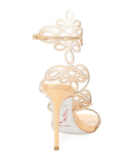 Laser-Cut Crystal 105mm Sandal, Gold